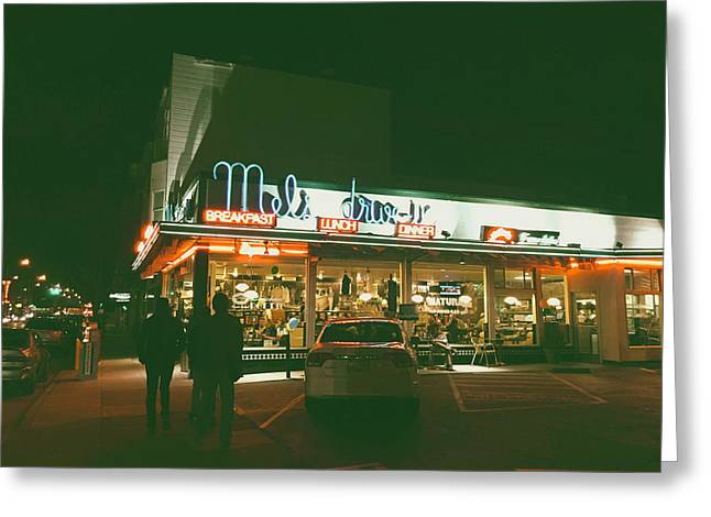 Mel's Drive - In Greeting Card by Mountain Dreams