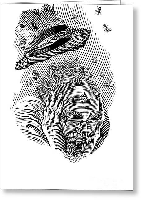 Linocut Greeting Cards - Memory Moths, Conceptual Artwork Greeting Card by Bill Sanderson