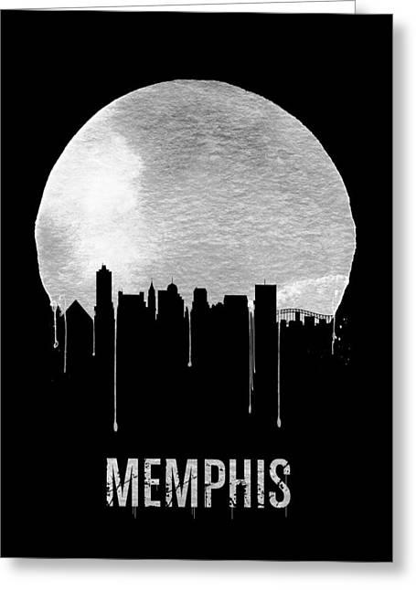Memphis Skyline Black Greeting Card by Naxart Studio
