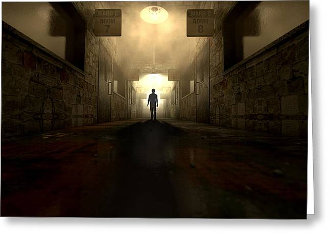 Haunted Digital Art Greeting Cards - Mental Asylum With Ghostly Figure Greeting Card by Allan Swart