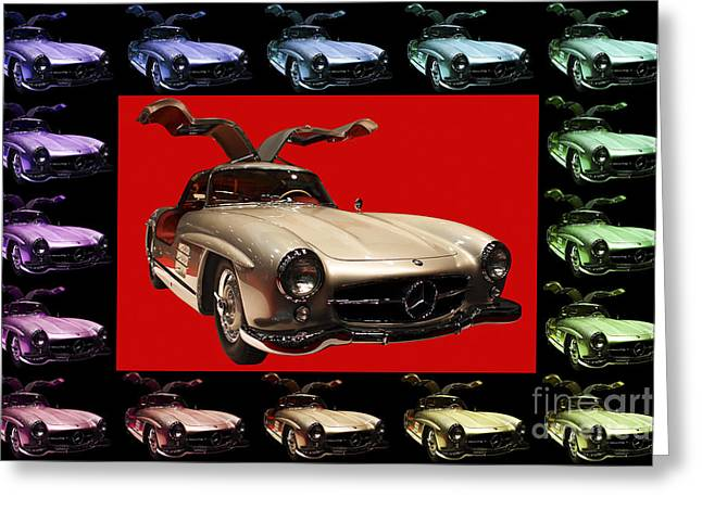 Mercedes 300sl Gullwing Greeting Cards - Mercedes 300SL Gullwing . Front Angle Artwork Greeting Card by Wingsdomain Art and Photography
