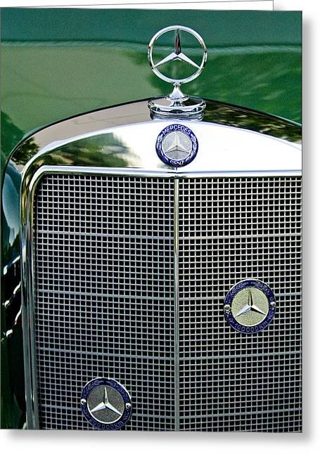 Car Mascot Greeting Cards - Mercedes Benz Hood Ornament Greeting Card by Jill Reger