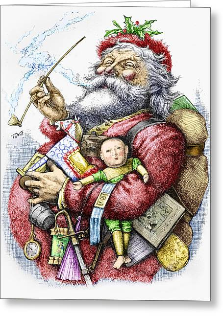 Nicholas Greeting Cards - Merry Old Santa Claus Greeting Card by Thomas Nast