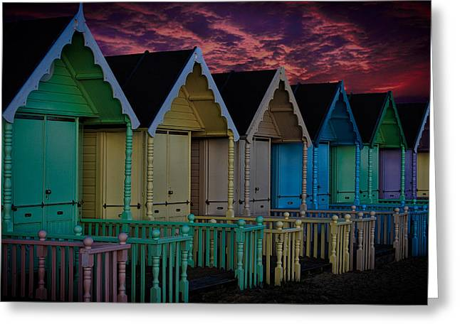 Essex Greeting Cards - Mersea Island Beach Huts Greeting Card by Martin Newman