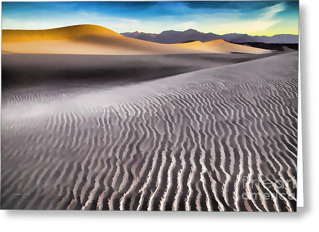 Grapevine Photographs Greeting Cards - Mesquite Dunes and Grapevine Mountains at Sunrise Greeting Card by Gordon Wood