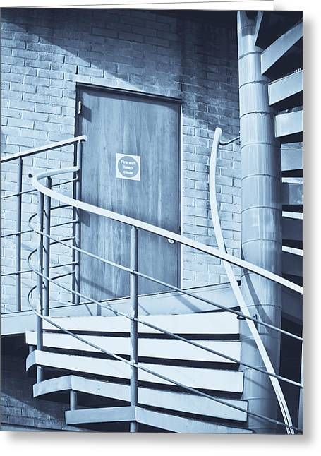 Rotate Photographs Greeting Cards - Metal staircase Greeting Card by Tom Gowanlock