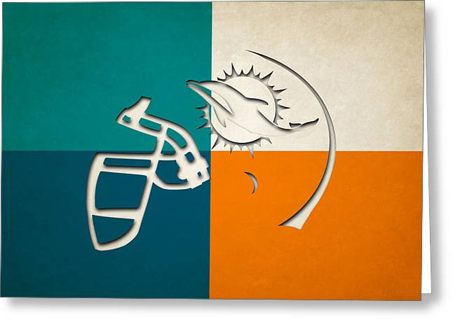 Miami Dolphins Greeting Cards - Miami Dolphins Helmet Greeting Card by Joe Hamilton