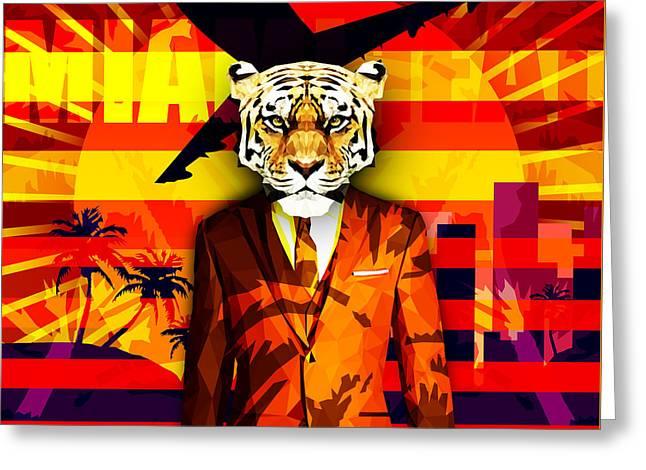 Miami Heat Tiger Greeting Card by Filip Aleksandrov