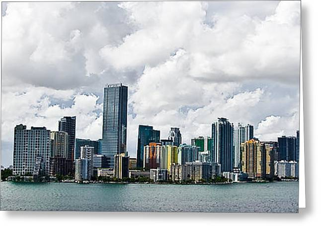 Skyline Pyrography Greeting Cards - Miami Greeting Card by Nelson Rodriguez