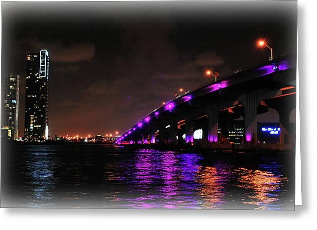 Florida Bridge Greeting Cards - Miami Skyline at Night 2 Greeting Card by Amanda Vouglas