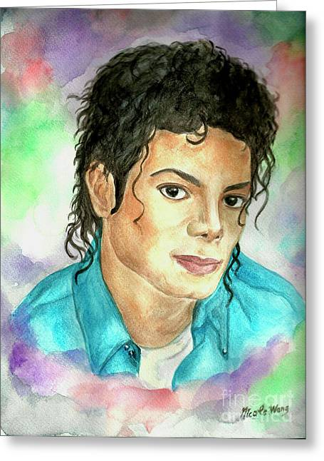 Mj Paintings Greeting Cards - Michael Jackson - The Way You Make Me Feel Greeting Card by Nicole Wang