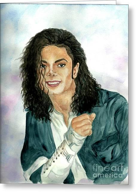 Mj Paintings Greeting Cards - Michael Jackson - Will You Be There Greeting Card by Nicole Wang