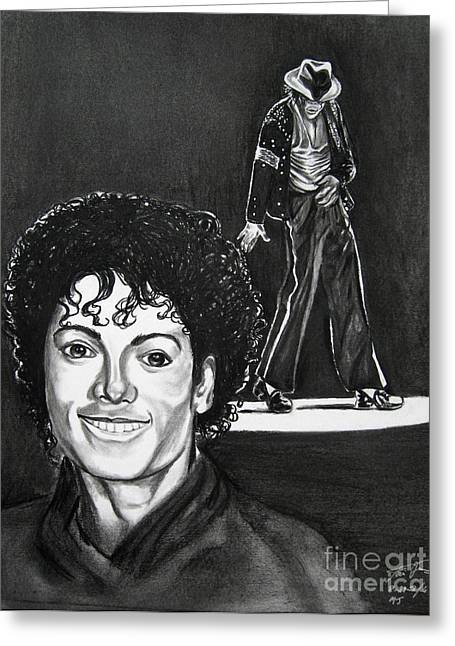 Michael Drawing Drawings Greeting Cards - Michael Jackson II Greeting Card by Toni  Thorne