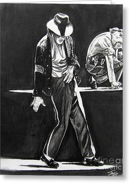 Michael Drawing Drawings Greeting Cards - Michael Jackson III Greeting Card by Toni  Thorne