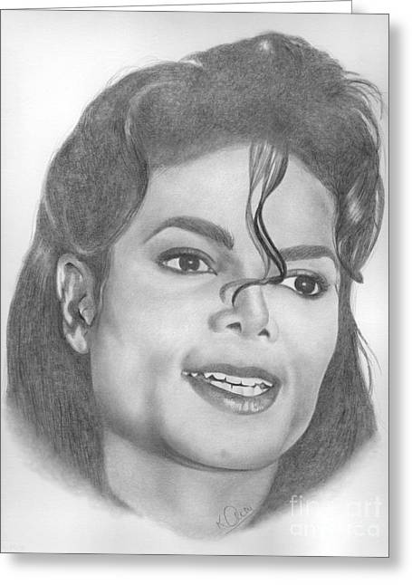 Jacko Greeting Cards - Michael Jackson Greeting Card by Karen  Townsend