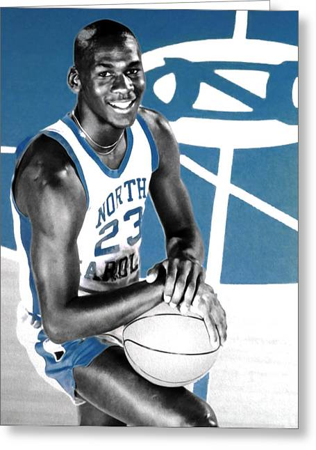 Michael Jordan In The Beginning Greeting Card by Brian Reaves