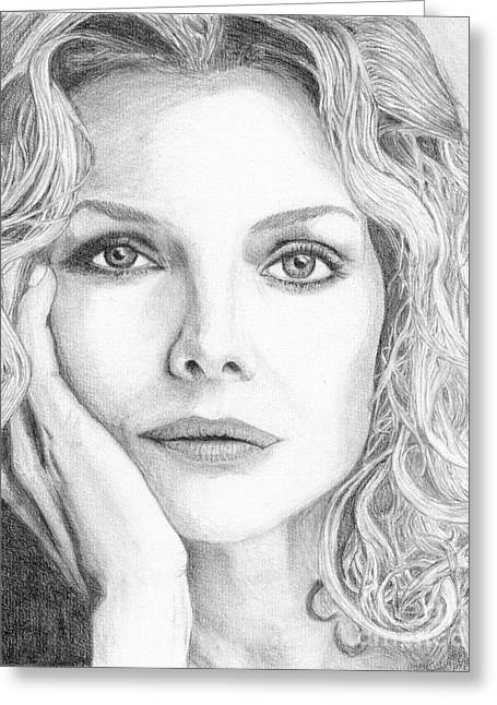 Michelle Drawings Greeting Cards - Michelle Pfeiffer Greeting Card by Alexandra Riley