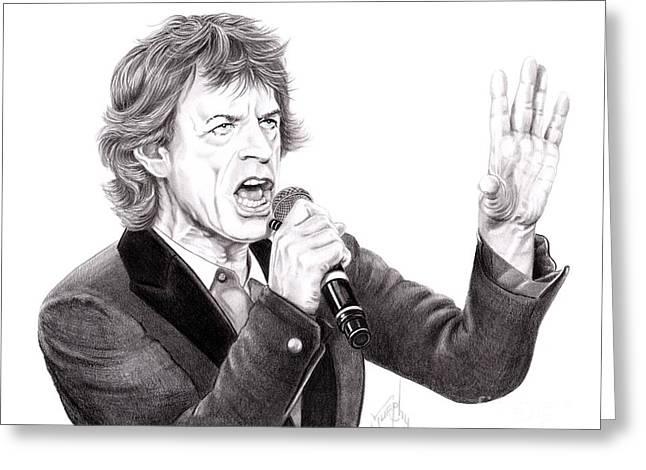 Mick Jagger Portrait Greeting Cards - Mick Jagger Greeting Card by Murphy Elliott