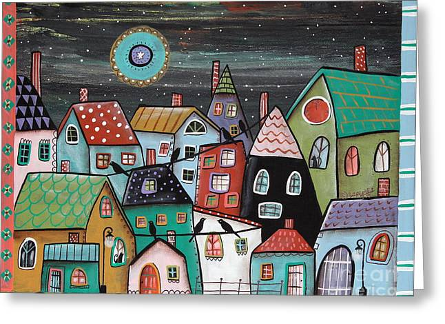 Folk Art Landscapes Greeting Cards - Midnight Greeting Card by Karla Gerard
