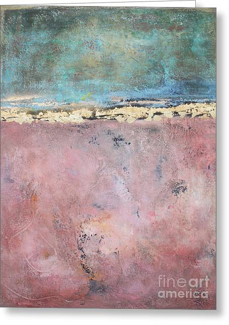 Abstracto Greeting Cards - Midnight Rose - Pink and Gold Abstract Greeting Card by Anahi DeCanio