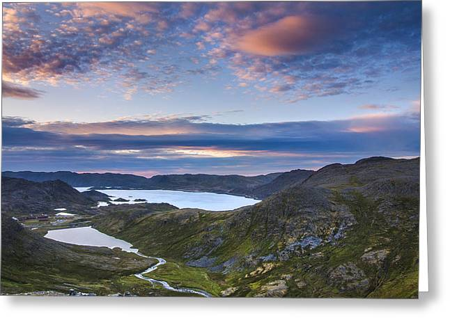 Norwegian Sunset Greeting Cards - Midsummer sunset sunrise in Norway Greeting Card by Sandra Rugina