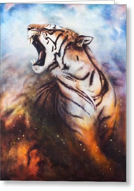 Red Abstracts Greeting Cards - Mighty Roaring Tiger Emerging From An Abstract Cosmical Background With Starlights Greeting Card by Jozef Klopacka