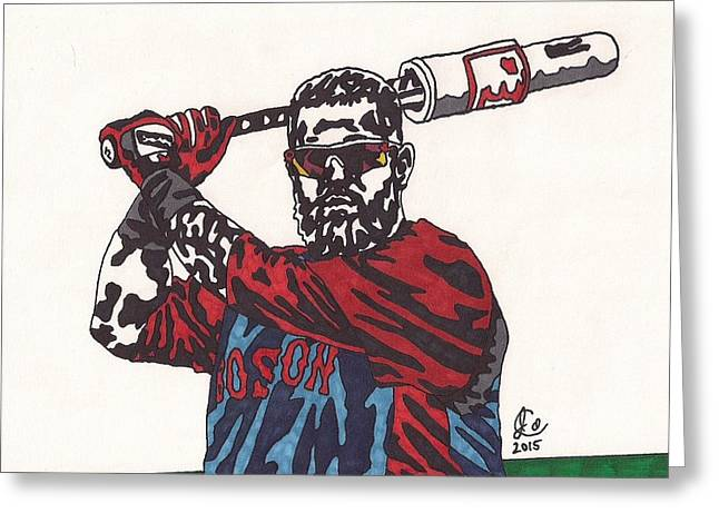 Red Sox Art Greeting Cards - Mike Napoli 2 Greeting Card by Jeremiah Colley