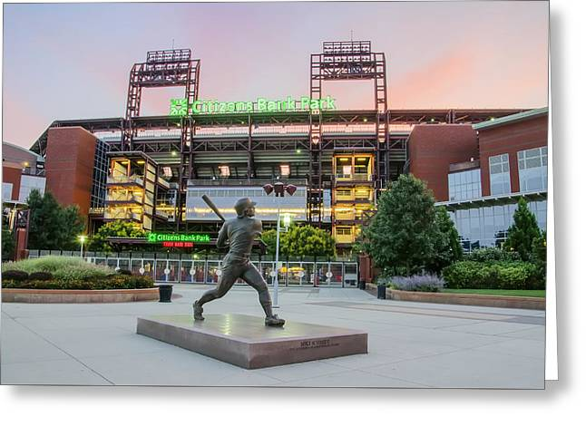 Philadelphia Phillies Stadium Digital Greeting Cards - Mike Schmidt at Bat  Greeting Card by Bill Cannon