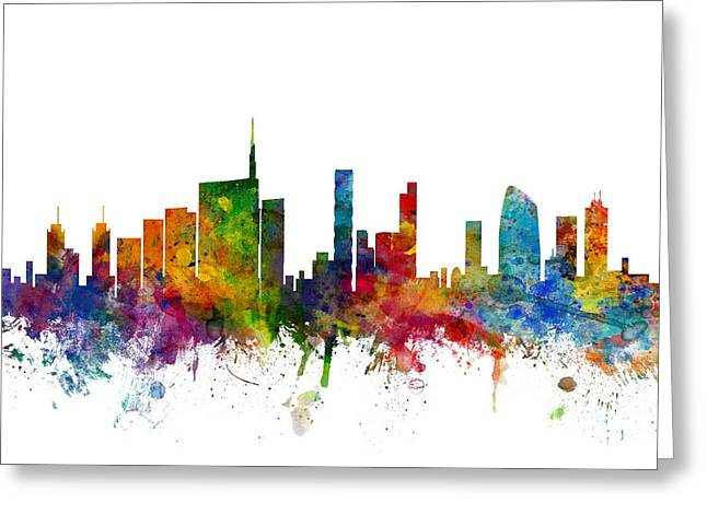Cityscape Digital Greeting Cards - Milan Italy Skyline Greeting Card by Michael Tompsett