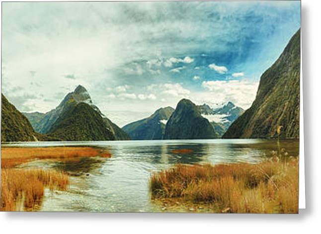 Ocean Panorama Greeting Cards - Milford sound Greeting Card by MotHaiBaPhoto Prints