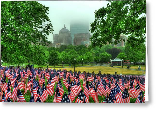 Military Heroes Garden Of Flags - Boston Common Greeting Card by Joann Vitali