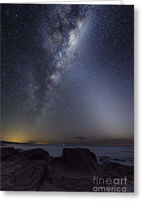 Moonlit Night Greeting Cards - Milky Way Over Cape Otway, Australia Greeting Card by Alex Cherney, Terrastro