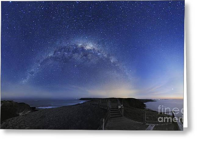 Moonlit Night Greeting Cards - Milky Way Over Phillip Island, Australia Greeting Card by Alex Cherney, Terrastro