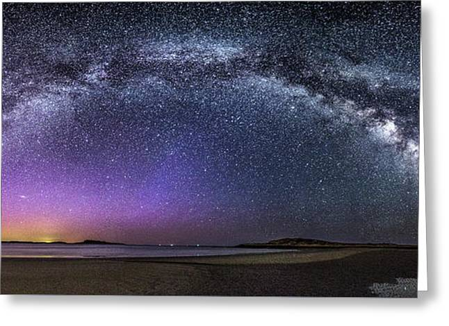 Milky Way Panorama With Northern Lights At Popham Beach Greeting Card by Benjamin Williamson