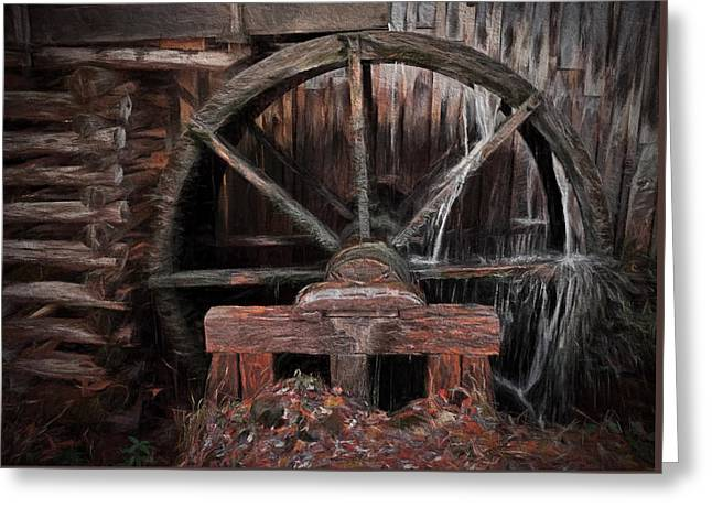 Grist Mill Greeting Cards - Mill Wheel  Greeting Card by Dave Bosse