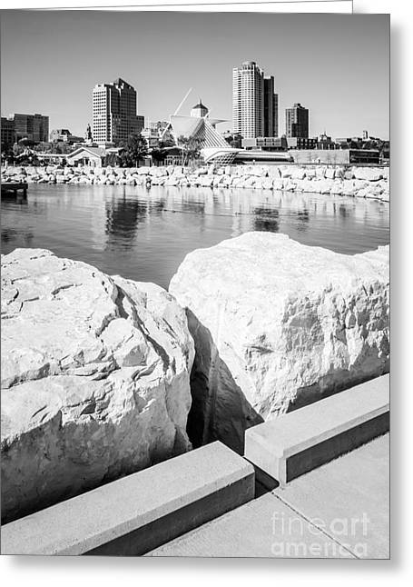 Milwaukee Art Museum Greeting Cards - Milwaukee Skyline Black and White Picture Greeting Card by Paul Velgos