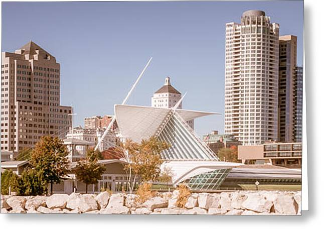 Milwaukee Art Museum Greeting Cards - Milwaukee Skyline Panorama Photo Greeting Card by Paul Velgos