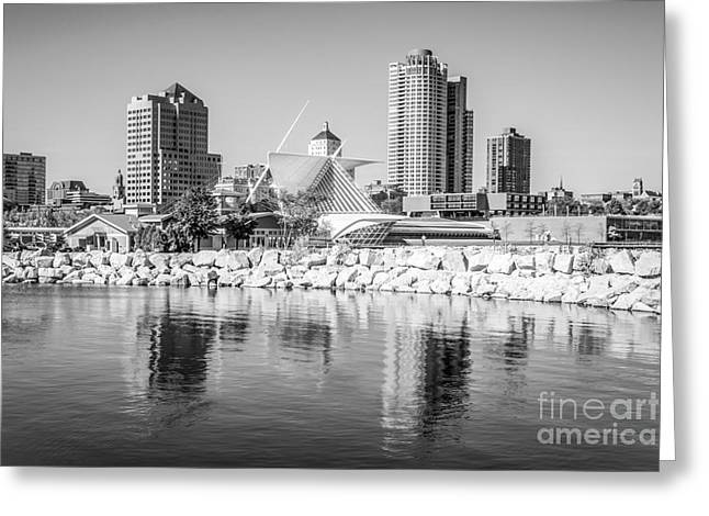 Milwaukee Art Museum Greeting Cards - Milwaukee Skyline Photo in Black and White Greeting Card by Paul Velgos