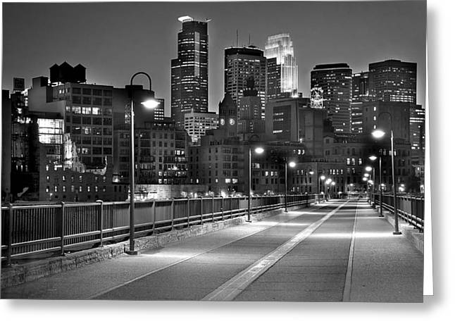 Dusk Greeting Cards - Minneapolis Skyline from Stone Arch Bridge Greeting Card by Jon Holiday