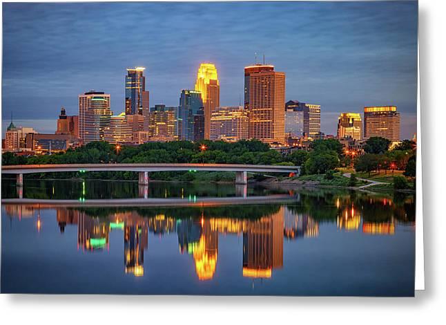 Minneapolis Twilight Greeting Card by Rick Berk