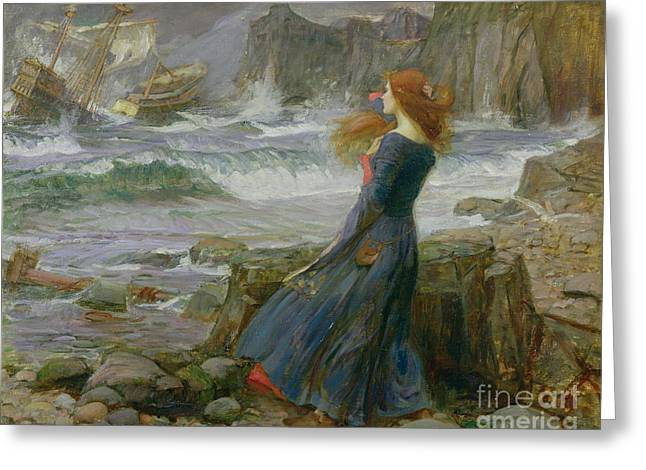 Ocean Shore Paintings Greeting Cards - Miranda Greeting Card by John William Waterhouse