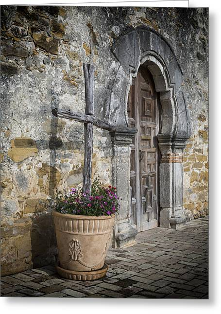 Mission Espada Cross Greeting Card by Stephen Stookey