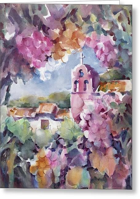 California Vineyard Paintings Greeting Cards - Mission Vineyard Greeting Card by Joan  Jones