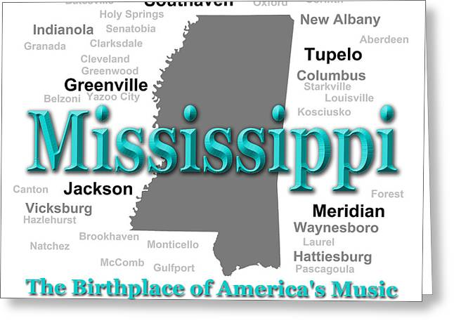 Mississippi State Pride Map Silhouette  Greeting Card by Keith Webber Jr