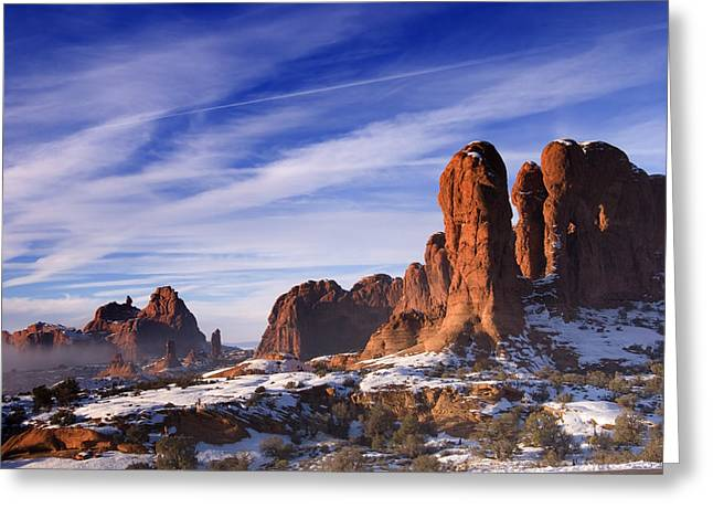 Mist Rising In Arches National Park Greeting Card by Utah Images