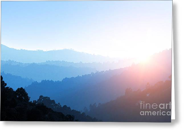 Layer Greeting Cards - Misty Valley Greeting Card by Carlos Caetano