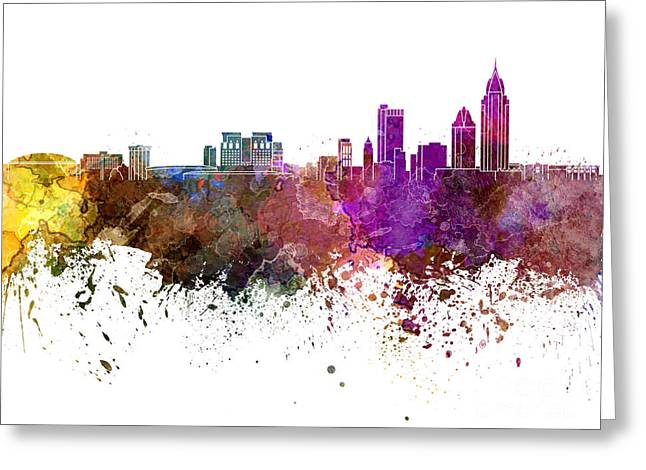 Art Mobiles Greeting Cards - Mobile skyline in watercolor background Greeting Card by Pablo Romero