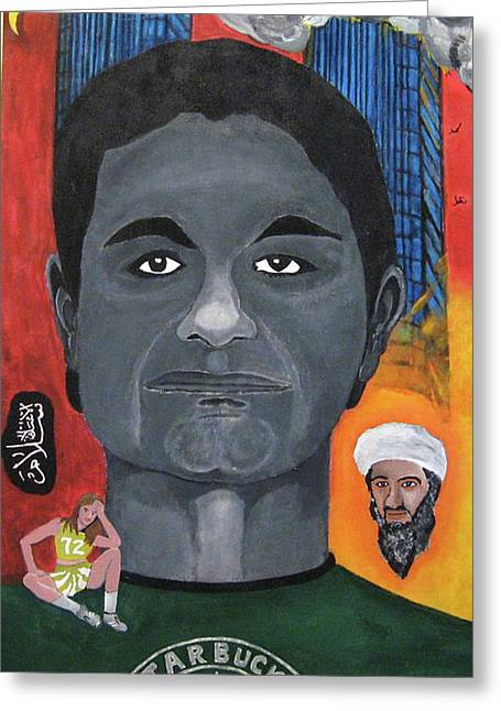 Darren Stein Paintings Greeting Cards - Mohamed Atta Greeting Card by Darren Stein