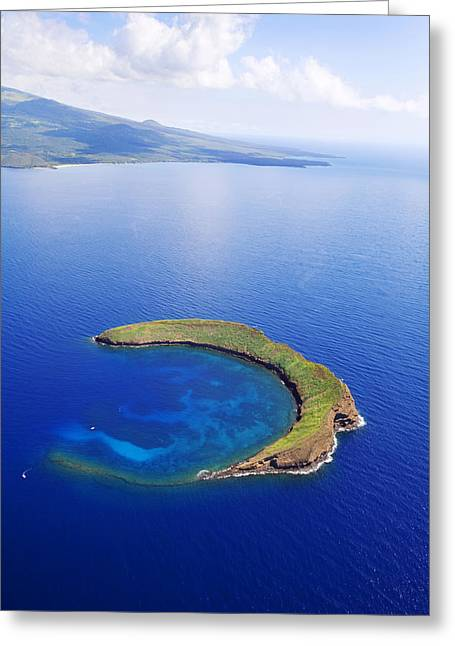 Shore Excursion Greeting Cards - Molokini Aerial Greeting Card by Ron Dahlquist - Printscapes