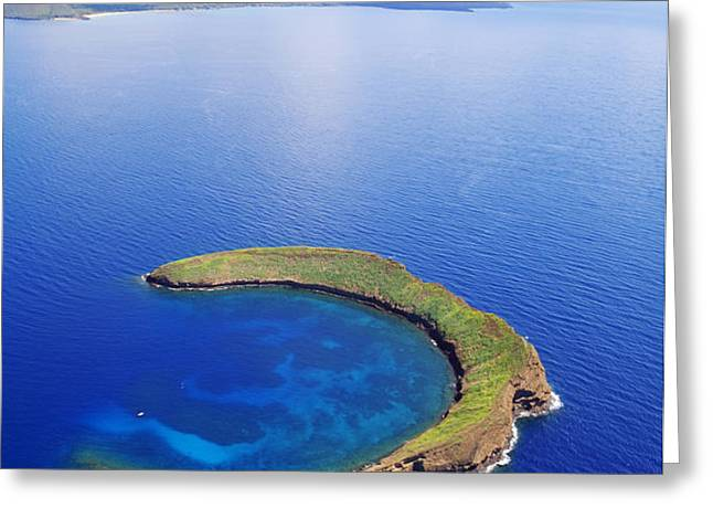 Molokini Aerial Greeting Card by Ron Dahlquist - Printscapes
